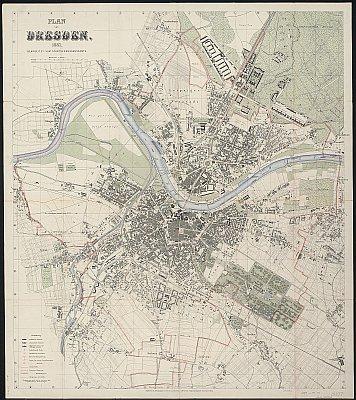 Stadtplan zum Adressbuch Dresden 1887