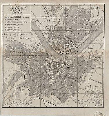 Stadtplan zum Adressbuch Dresden 1849