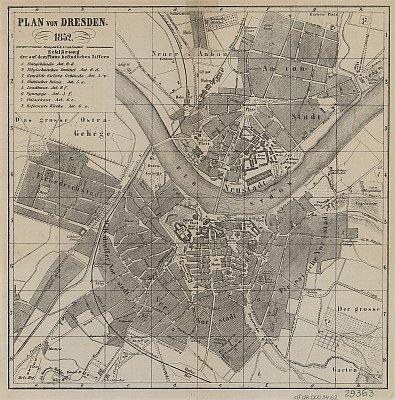 Stadtplan zum Adressbuch Dresden 1852