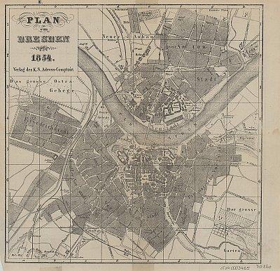 Stadtplan zum Adressbuch Dresden 1854