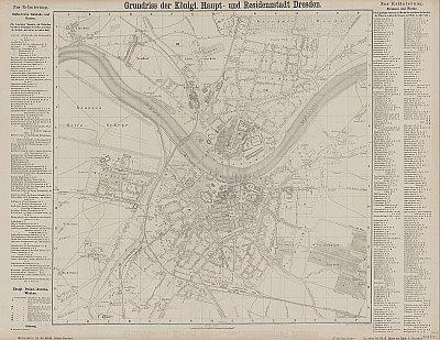 Stadtplan zum Adressbuch Dresden 1860
