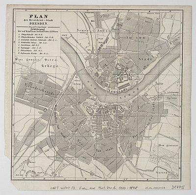 Stadtplan zum Adressbuch Dresden 1848