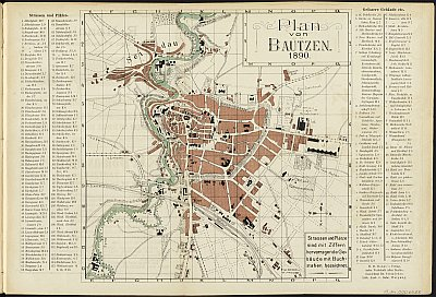 Stadtplan zum Adressbuch Bautzen 1890