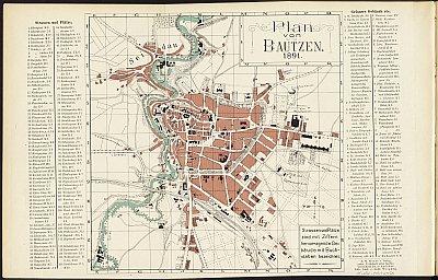Stadtplan zum Adressbuch Bautzen 1891