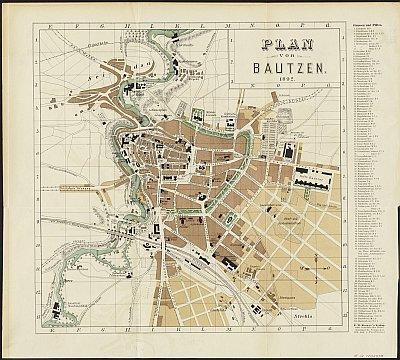 Stadtplan zum Adressbuch Bautzen 1892