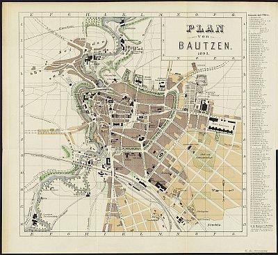Stadtplan zum Adressbuch Bautzen 1893