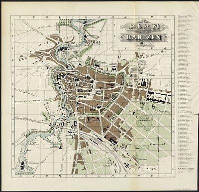 Stadtplan zum Adressbuch Bautzen 1896