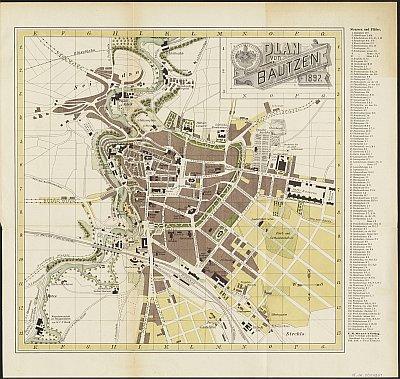 Stadtplan zum Adressbuch Bautzen 1897