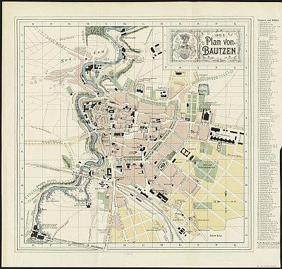 Stadtplan zum Adressbuch Bautzen 1902