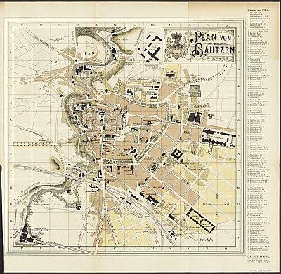Stadtplan zum Adressbuch Bautzen 1907-08