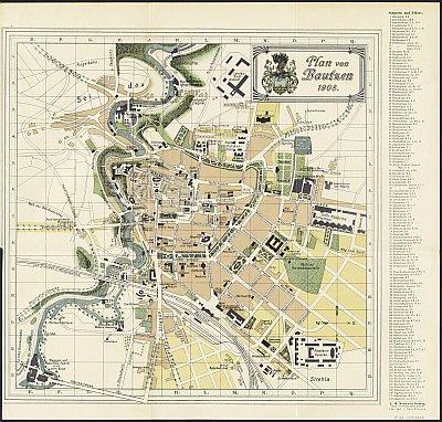 Stadtplan zum Adressbuch Bautzen 1908-09