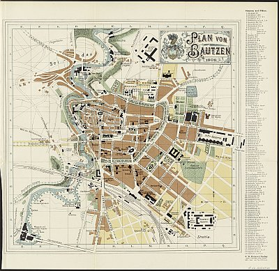 Stadtplan zum Adressbuch Bautzen 1909-10