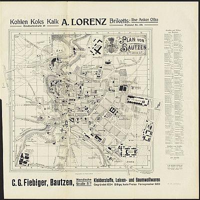 Stadtplan zum Adressbuch Bautzen 1912-13