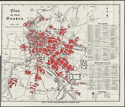 Stadtplan zum Adressbuch Bautzen 1924