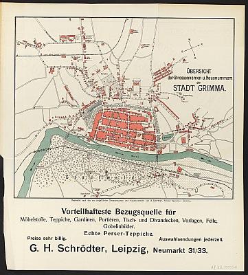 Stadtplan zum Adressbuch Trebsen 1909-10