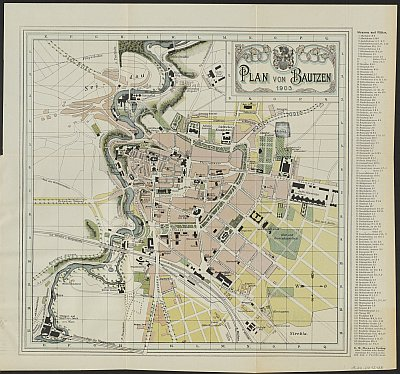 Stadtplan zum Adressbuch Bautzen 1903