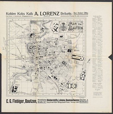 Stadtplan zum Adressbuch Bautzen 1919